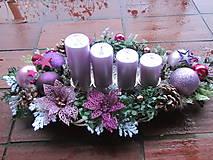 Svietidlá a sviečky - Fialovo-ružový adventný svietnik-50cm - 4802035_