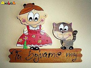 Tabuľky - Menovka - babička a mačička - 4806366_