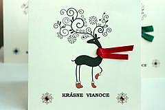 Papiernictvo - Vianočná pohľadnica - jelenček červený - 4811490_