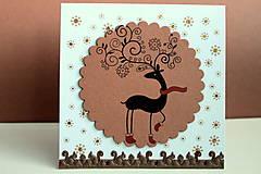 Papiernictvo - Vianočná pohľadnica - jelenček v kruhu - 4811627_