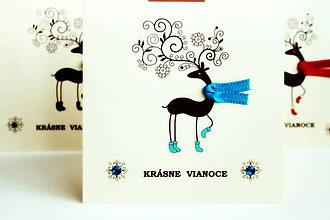 Papiernictvo - Vianočná pohľadnica - jelenček modrý - 4811448_