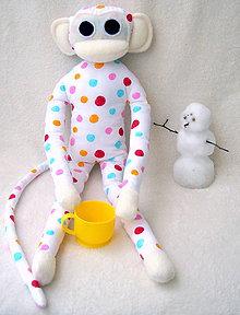 Hračky - opička biela s guličkami - 4812113_