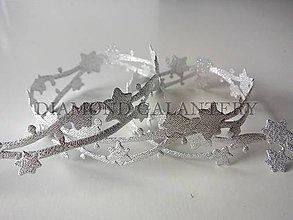 Galantéria - Stuha hviezdičky vianočné strieborné - 4809251_