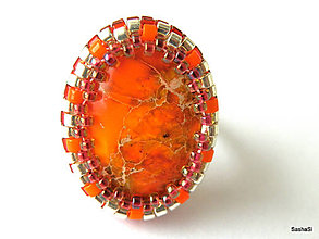 Prstene - Prsteň s oranžovým jaspisom - 4810609_