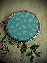 Zrkadielka - Zrkadielko kabelkové tyrkysove farby s papierovymi vtacikmi - 4812192_