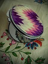 Zrkadielka - Zrkadielko kabelkové fialkovým motívom - 4812211_