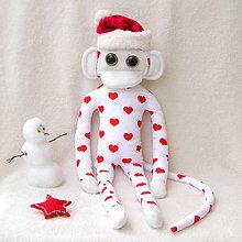 Hračky - opička biela-červené srdiečko - 4814721_