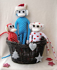 Hračky - opička modré srdiečko - 4817666_