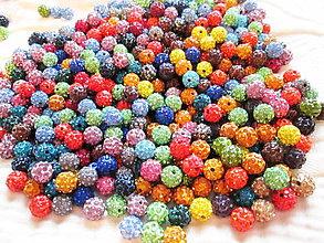 Korálky - AKCIA !!! Shamballa korálky, 10mm, náhodný mix farieb / 50 ks. - 4820056_
