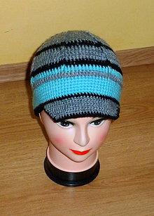 Detské čiapky - sivo- modro- cierna bekovka - 4823121_