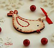 Dekorácie - Vianočná ozdoba VTÁČIK lemovaný - 4823762_