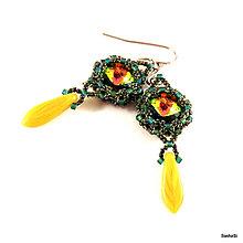 Náušnice - Romantické - zeleno-žlté - 4825494_