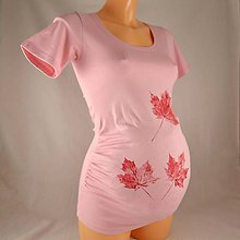 Tehotenské oblečenie - Těhotenské triko s listy růžové S/M - 4825877_