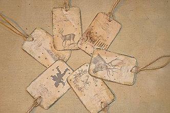 Papiernictvo - Vianočné vintage visačky - sada 6 ks - 4828216_