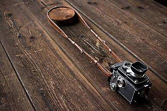 Iné doplnky - Kožený foto popruh Whiskey - 4834554_