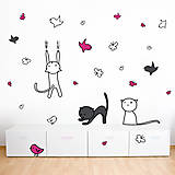 Dekorácie -  Kreslené mačky na bielu stenu - nálepka na stenu do detskej izby - 4830304_