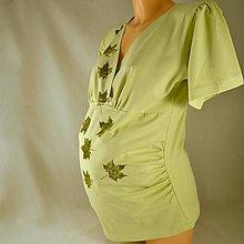 Tehotenské oblečenie - Těhotenská tunika - sv. zelená s listy L/XL - 4833761_