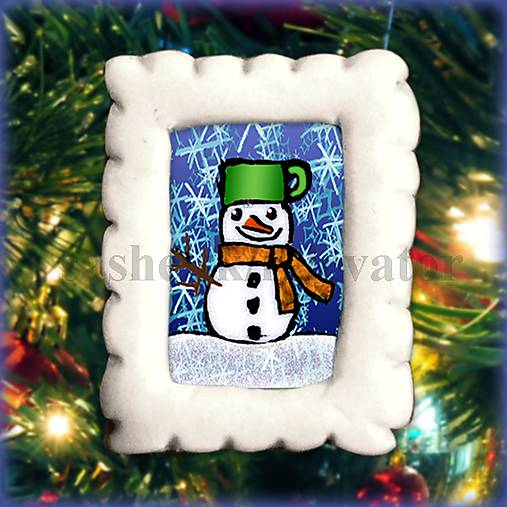 Vianočná magnetka - poštová známka - snehuliačik NA ZÁKAZKU