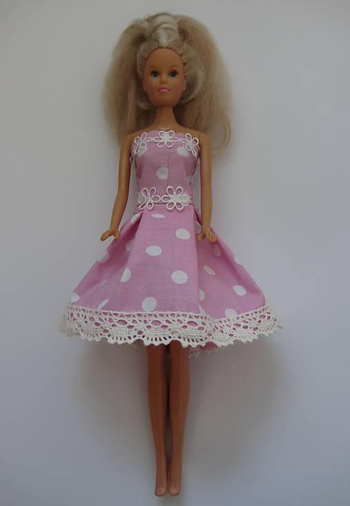 Šaty pre Barbie - ružové bodkované   MoPe - SAShE.sk - Handmade Hračky b571d5a1381