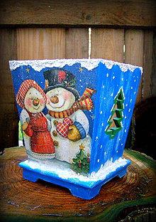 Nádoby - nádobka s veselými snehuliakmi - 4844803_