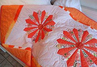 Úžitkový textil - Prehoz patchwork - mandarínkové želé - 4844626_