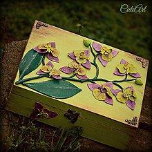 Krabičky - Purpurová orchidea - šperkovnica - 4848390_