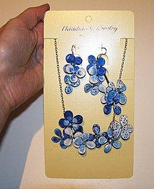 Náhrdelníky - lel blue color náhrdelník a náušnice - 4855831_