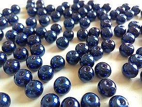 Korálky - Perličky sklenené 8 mm modré - 4856758_