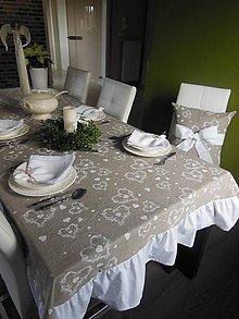 Úžitkový textil - Ľanový obrus White Tenderness - 4856032_