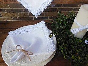 Úžitkový textil - Ľanový obrúsok White Madness - 4856149_