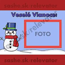 Papiernictvo - Kreslená vianočná pohľadnica so snehuliačikom a s vlastnou fotkou - 4856244_