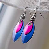 Náušnice - Náušnice Double - blue and pink - 4858982_