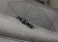 - Závoj čierny s mašľou - krátky birdcage - 4858642_