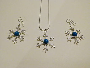 Sady šperkov - Fŕkané vločky v modrej sade - 4863012_