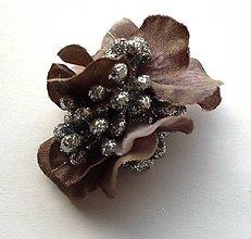 Ozdoby do vlasov - Strieborná hortenzia (sponka-štipec) - 4863413_
