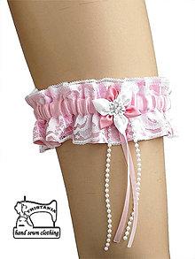 Bielizeň/Plavky - Saténový podväzok s čipkou pre svadobné šaty 0095 - 4867831_