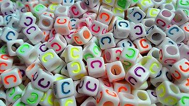 Korálky - Písmenka neónové C - 4866806_