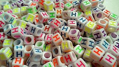 Korálky - Písmenka neónové H - 4866950_