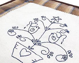 Úžitkový textil - Obliečka na vankúš, Vianočný stromček hnedomodrý - 4865406_