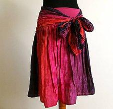 Sukne - Mexiko set :-) krátká hedvábná sukně a šála - 4865078_