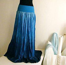 Sukne - Modrá modřenka...dlouhá hedvábná sukně - 4865205_
