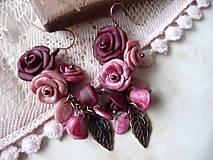 Náušnice - tajný sen ruží-v bordovoružovom-akcia za 7,80 - 4868327_
