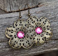 Náušnice - Kvetinky pink - 4870389_