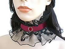 Náhrdelníky - Saténový  čipkový gotický golier  0805 - 4872395_