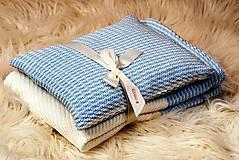 Textil - Pletený vankúšik - vzor CreamEye - modrý - 4874553_
