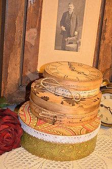 Krabičky - Sada 3 vintage darčekových krabíc - KRUH - 4877185_