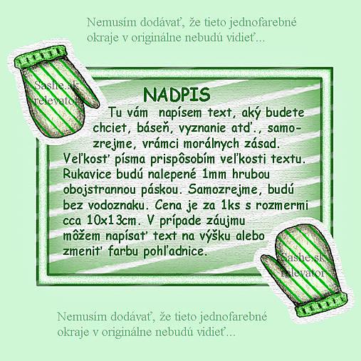 Vianočná pohľadnica s rukavicami - zelená