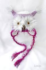 Detské čiapky - sovička 3D očko lilavá - 4877536_