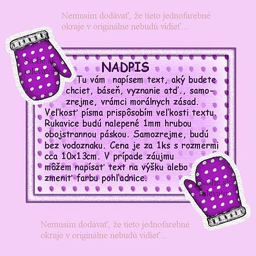 Vianočná pohľadnica s rukavicami - fialová