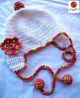 Detské čiapky - detská čiapka biela s brmbolčekmi - 4882542_